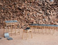 Stools and Benches Built with Discarded Roof Tiles